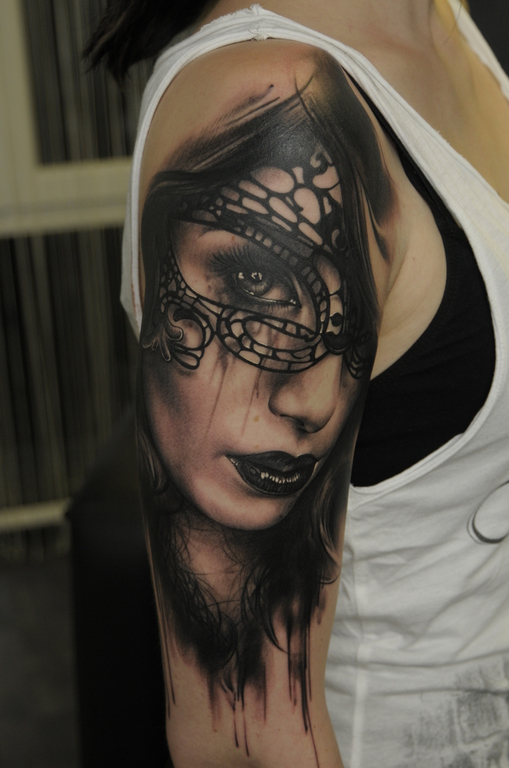 Half Woman Half Skull Tattoo Designs